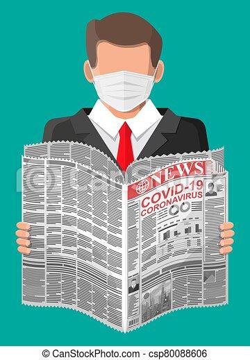 Man Reads Newspaper News About Covid19 Coronavirus Man In Medical Mask Reads Newspaper World News About Covid 19 Coronavirus Canstock