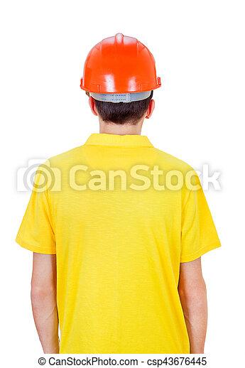 Man Rear View in Hard Hat - csp43676445