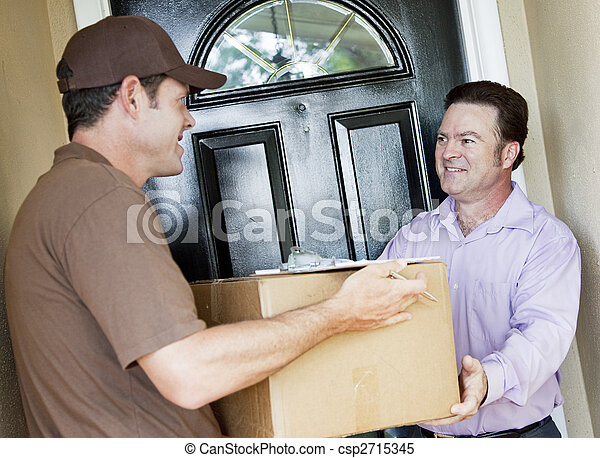 Man Receives Package Delivery - csp2715345
