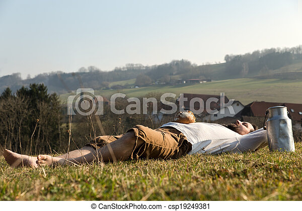 Man relaxing in the nature  - csp19249381