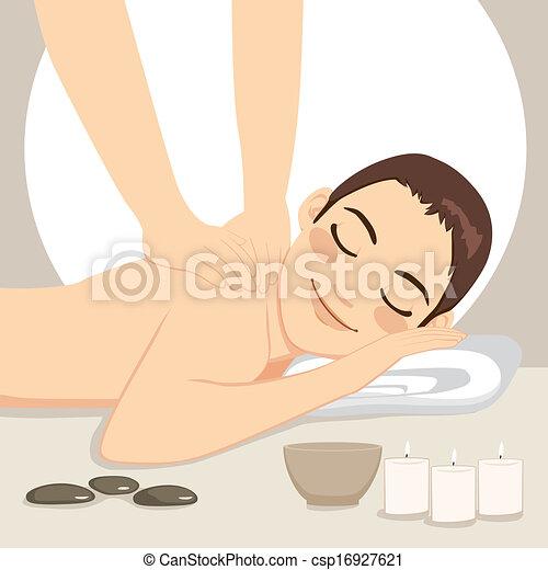 Man Relaxing Massage Spa - csp16927621