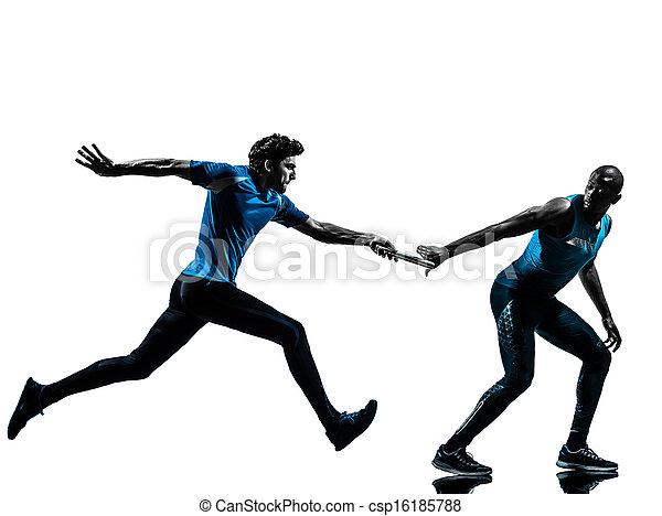 man relay runner sprinter  silhouette - csp16185788