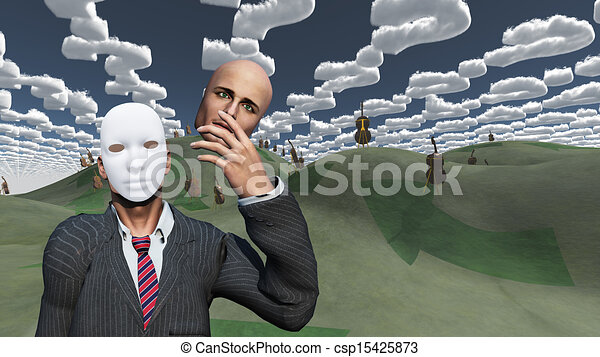 Man removes face to reveal mask underneath in surreal landscape - csp15425873