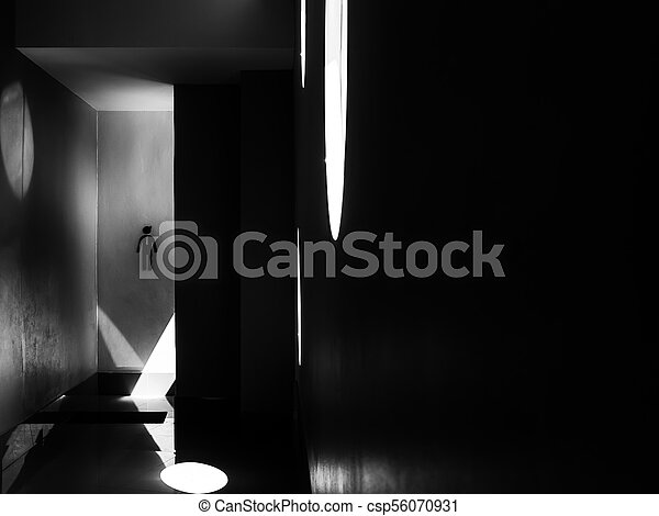 Man restroom sign on concrete wall, black and white - csp56070931