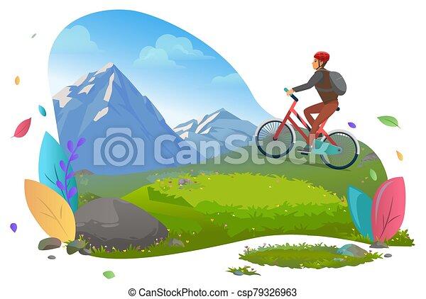 Man Riding Bicycle on Mountains Traveling Male - csp79326963