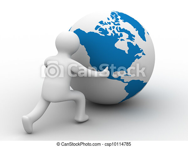 man rolls the globe on a white background. Isolated 3D image. - csp10114785