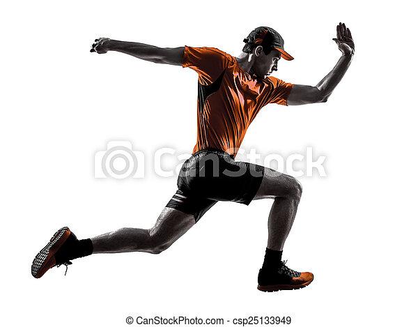 man runner jogger running jogging jumping silhouette - csp25133949