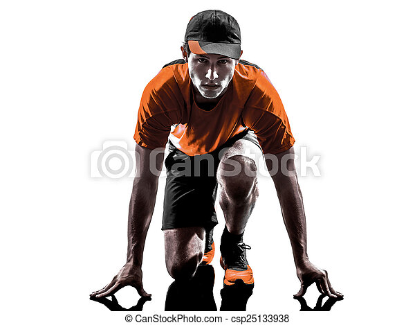 man runner jogger silhouette - csp25133938