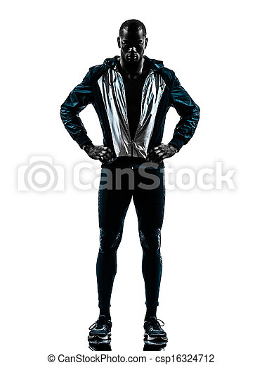 man runner sprinter jogger posing silhouette - csp16324712