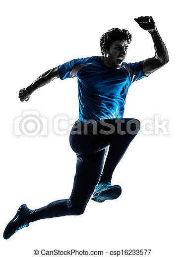 man runner sprinter jogger shouting silhouette - csp16233577