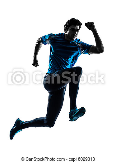 man runner sprinter jogger silhouette - csp18029313