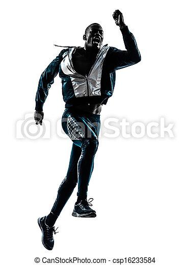 man runner sprinter jogger silhouette - csp16233584