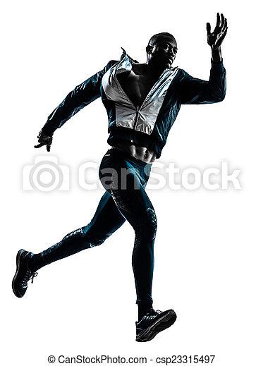 man runner sprinter jogger silhouette - csp23315497