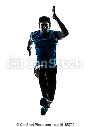 man runner sprinter jogger silhouette - csp16185700