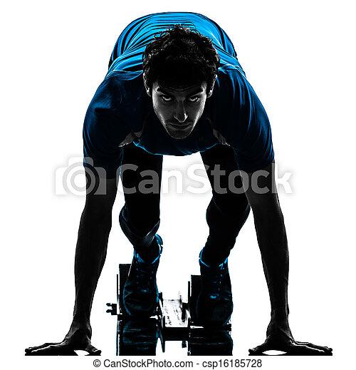 man runner sprinter on starting blocks   silhouette - csp16185728