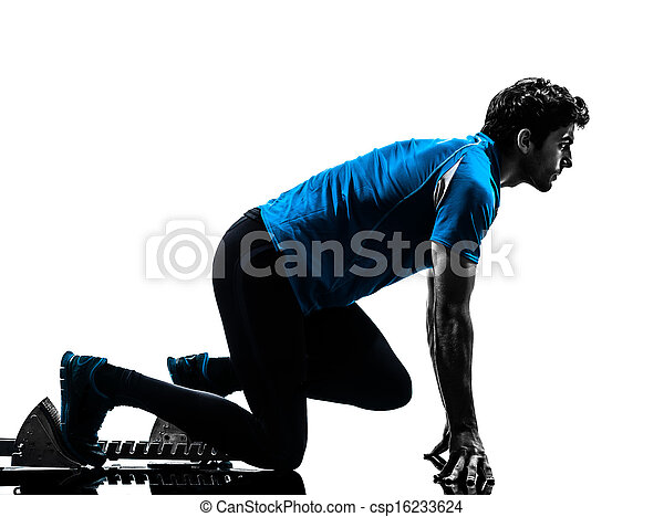 man runner sprinter on starting blocks   silhouette - csp16233624
