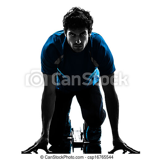 man runner sprinter on starting blocks   silhouette - csp16765544