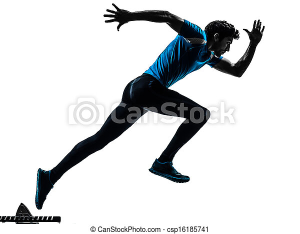 man runner sprinter  silhouette - csp16185741
