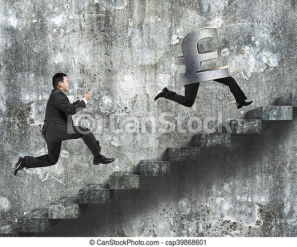 man running after pound money symbol with human legs on