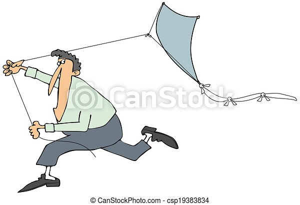 Man running with a kite - csp19383834