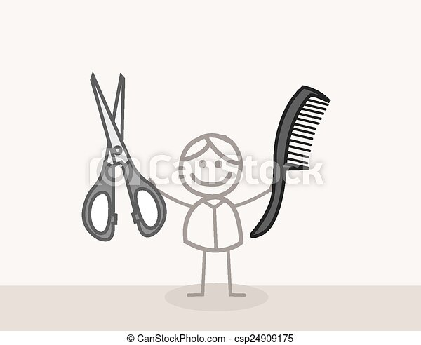 Man Scissors Barbershop - csp24909175