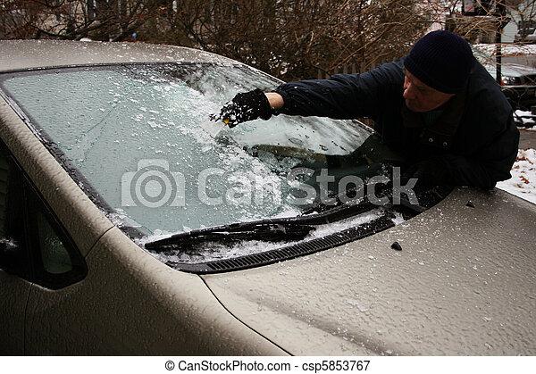 man scraping windshield - csp5853767