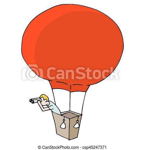 Man Searching with Binoculars in Hot Air Balloon - csp45247371