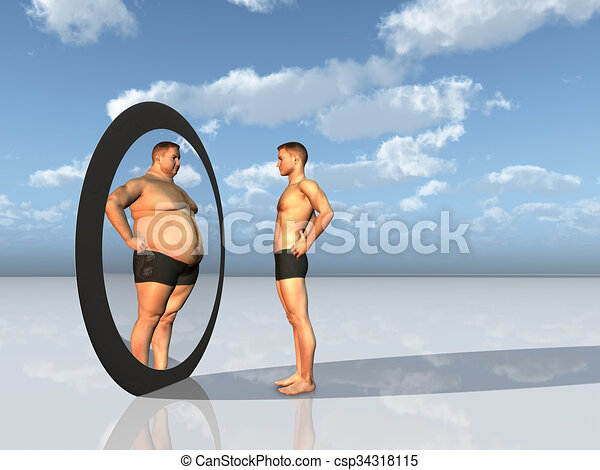 Man sees other self in mirror - csp34318115