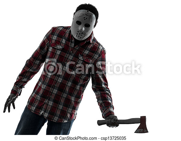 Man serial killer with axe silhouette portrait. One ...