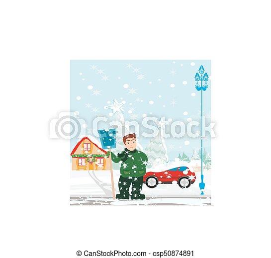 Man shoveling snow - csp50874891