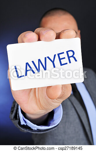 man showing a signboard with the word lawyer - csp27189145