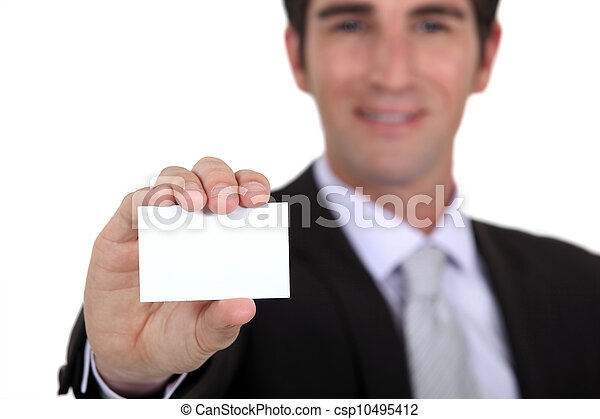 Man showing blank business card - csp10495412