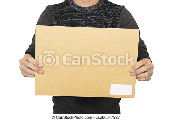 Man showing brown envelope - csp60547927