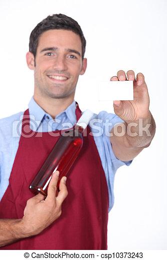 Man showing business card - csp10373243
