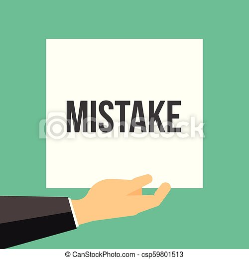 Man showing paper MISTAKE text - csp59801513