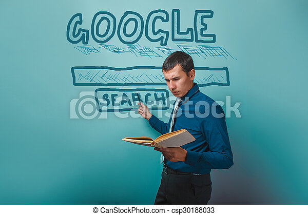 man shows a pointer to search Google holding a book infographics - csp30188033
