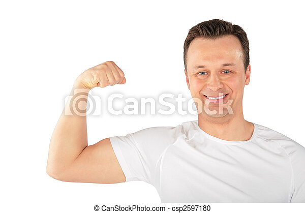 man shows biceps - csp2597180