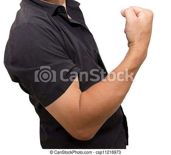 man shows strength on a white background - csp11216973