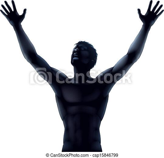 Man silhouette hands raised - csp15846799