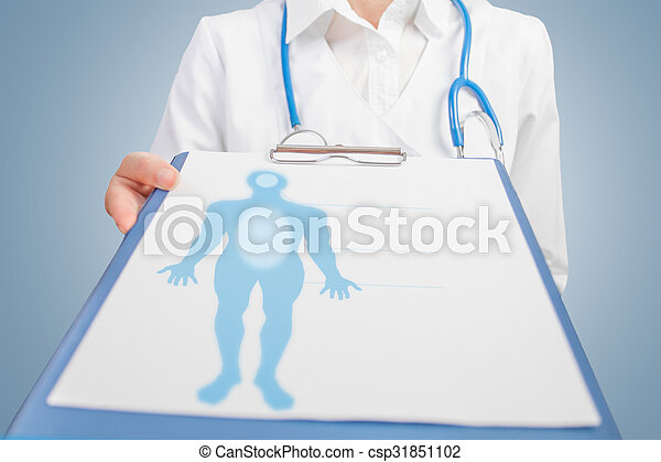 Man silhouette on medical blank - csp31851102