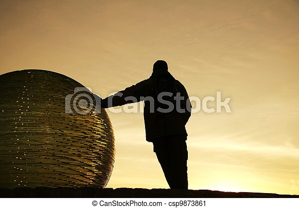 Man silhouette on sunset - csp9873861