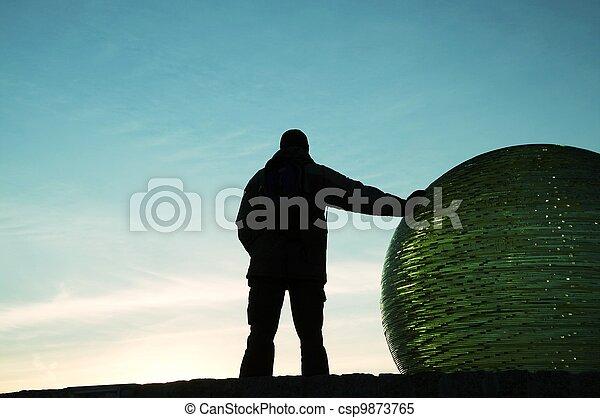 Man silhouette on sunset - csp9873765