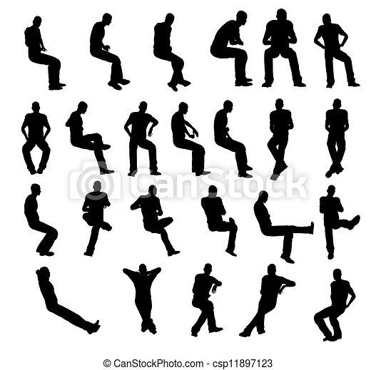man, silhouette, zittende  - csp11897123