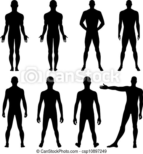 Man Silhouettes Full Length Front Back Silhouette Of A Man
