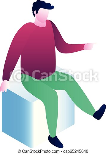 Man sit on cube icon, isometric style
