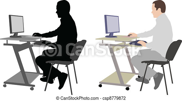 man sitting in front of computer - csp8779872