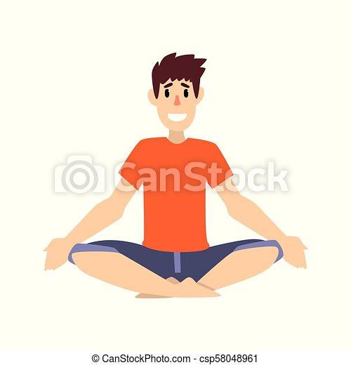 man sitting in lotus pose young man practicing yoga