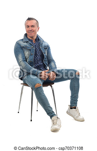 man sitting on a chair with white background - csp70371108
