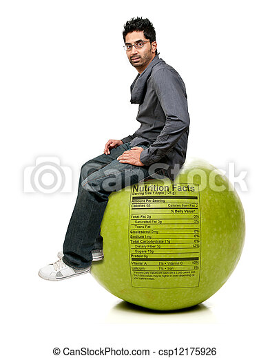 Man Sitting on Red Delicious Apple with Nutrition Label - csp12175926