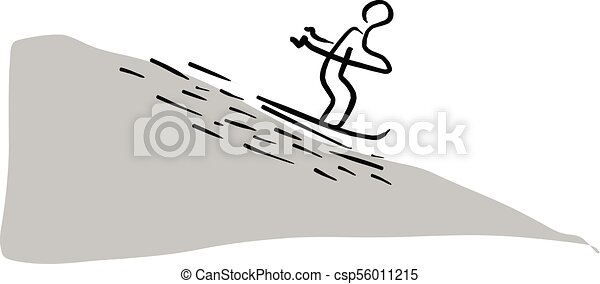 man skiing sliding from the mountain vector illustration sketch hand drawn with black lines isolated on white background - csp56011215